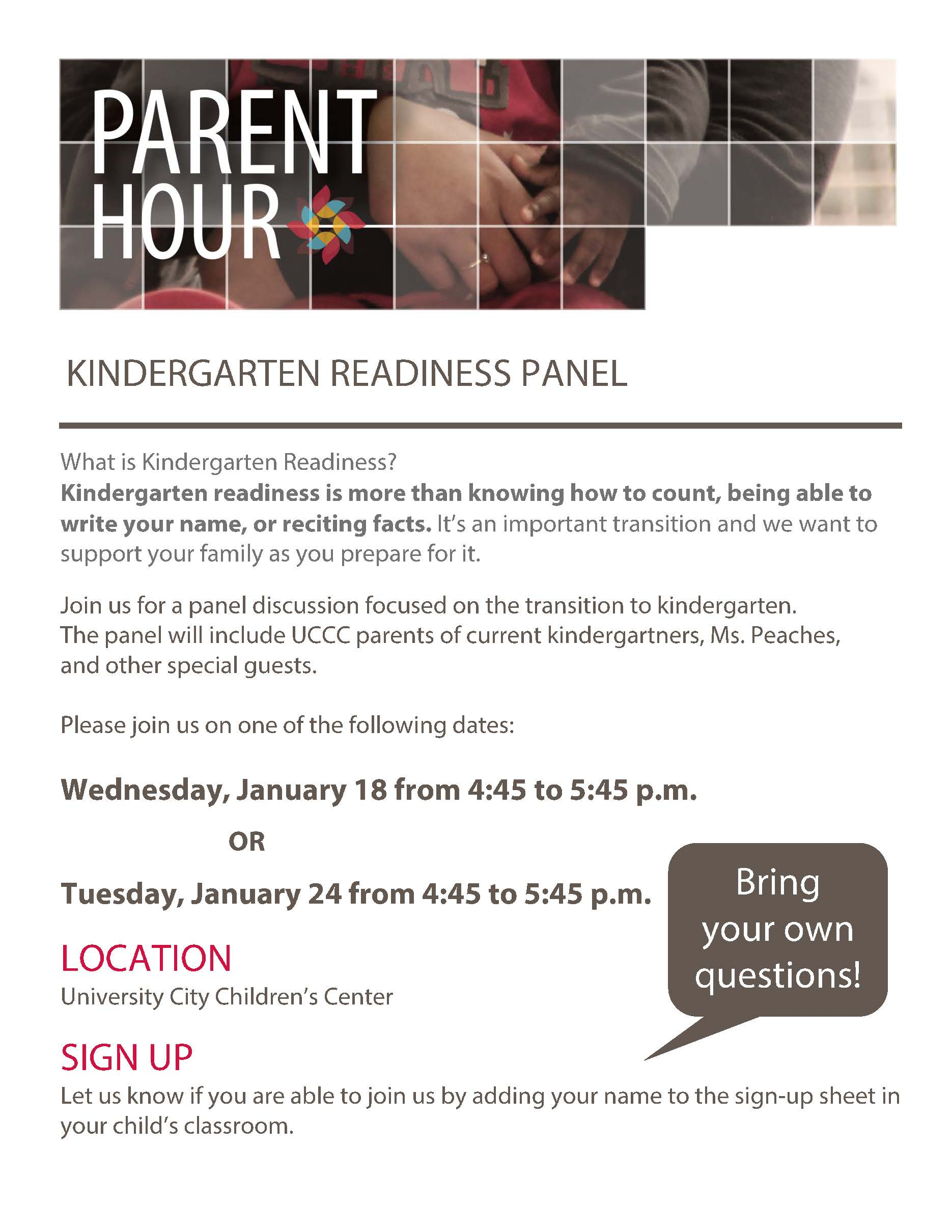 UCCC Kindergarten Readiness Panel