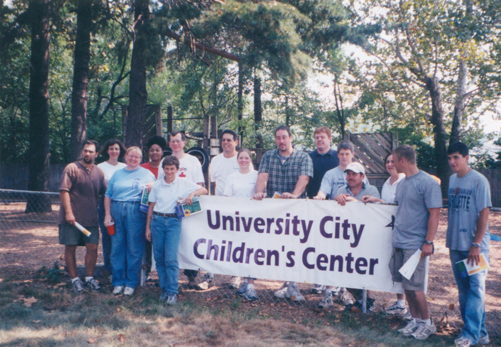 Volunteers at University City Children's Center, 2000.