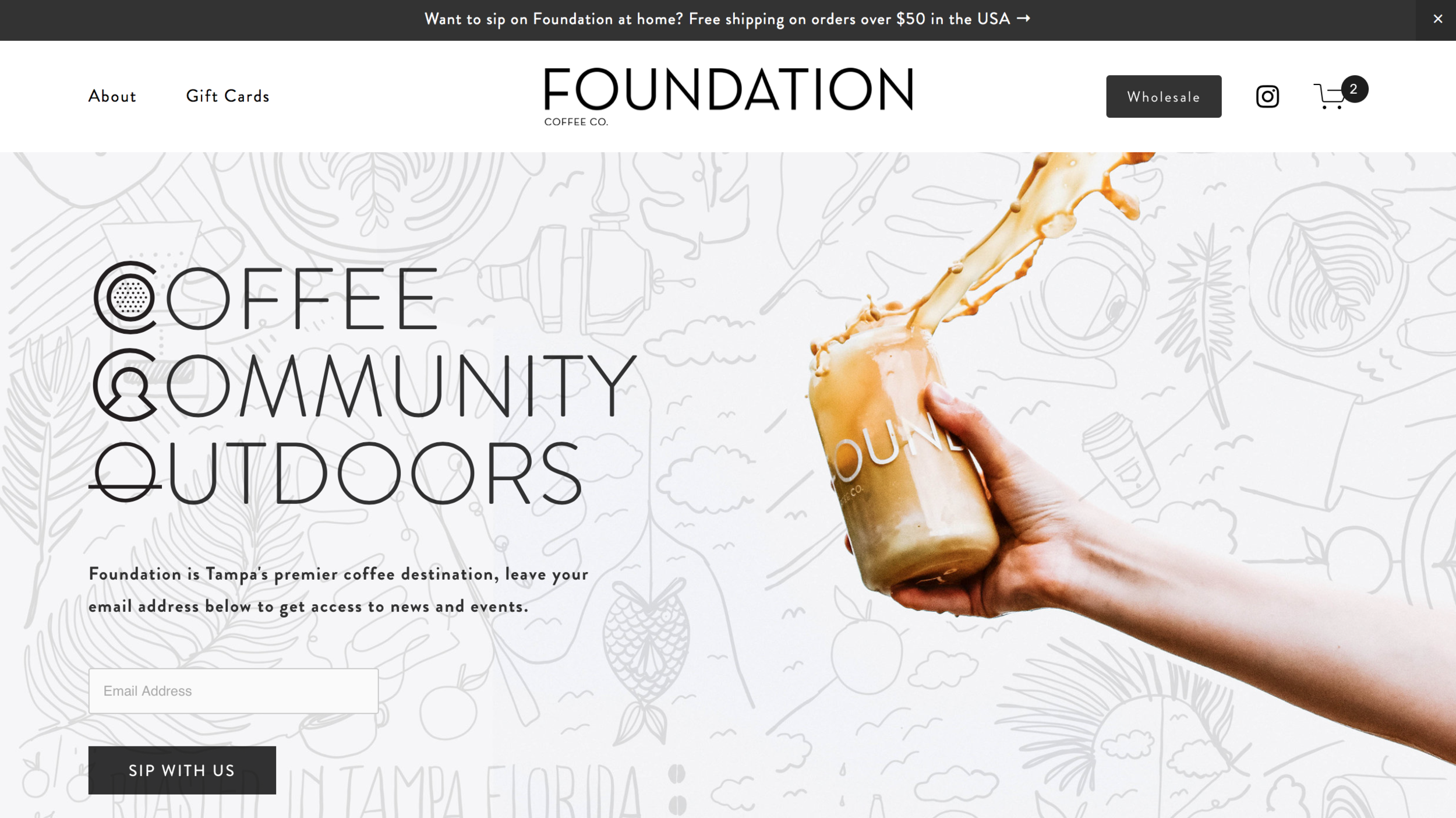 Foundation Coffee - Foundation wanted to better serve their creative clientele with unique aesthetic and e-commerce products. Full Squarespace Web Design + Development.