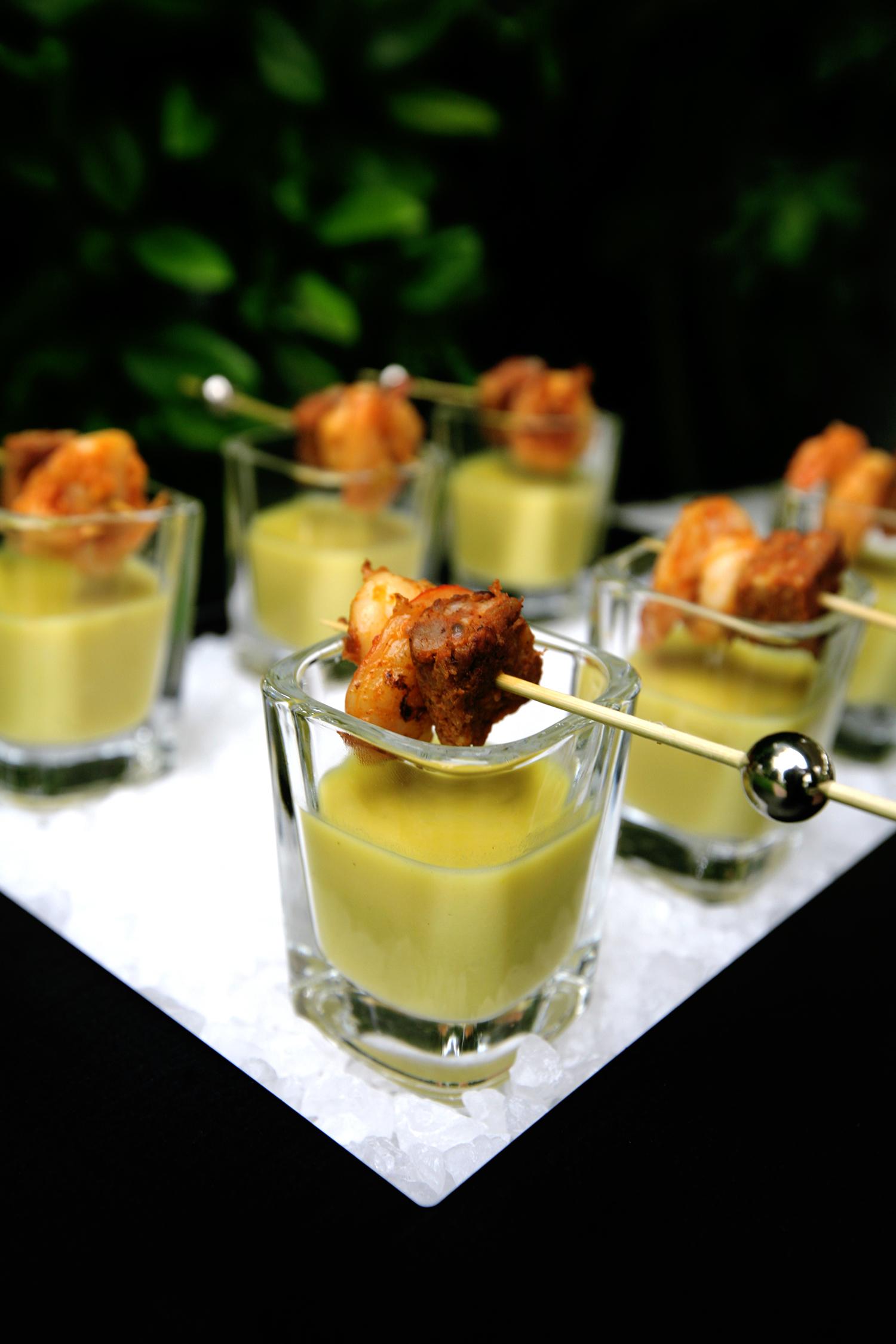 Sweet corn soup with shrimp and chorizo