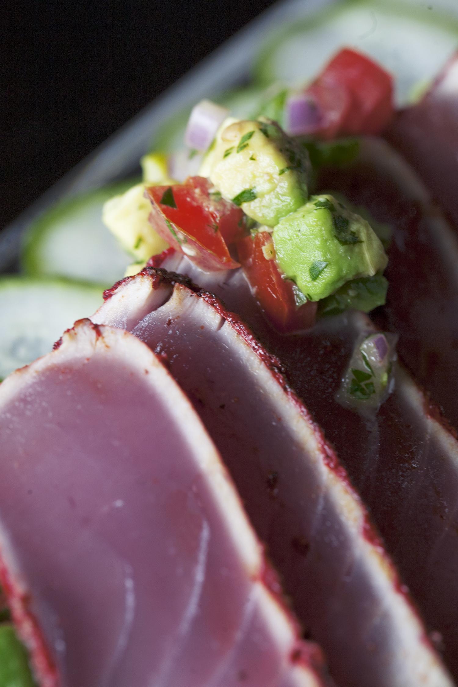 Adobo Rubbed Seared Ahi Tuna with Avocado Salad and Cucumber