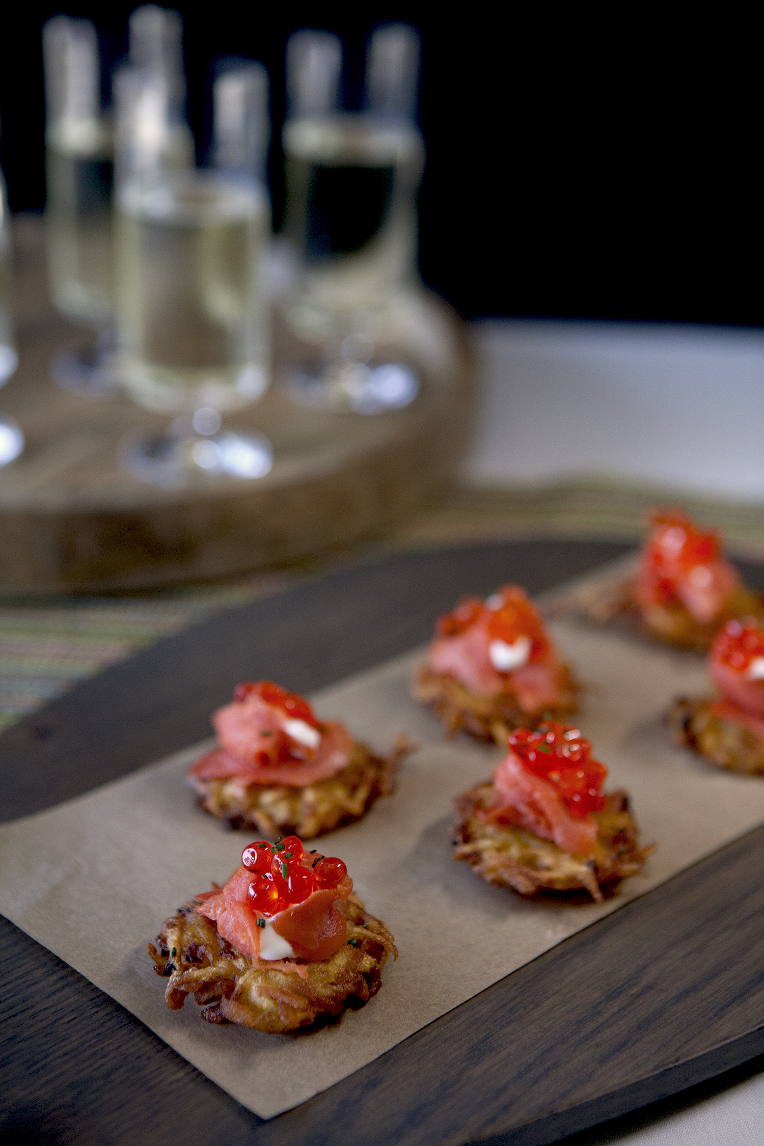 Potato Latkes with Smoked Salmon, Salmon Roe and Creme Fraiche
