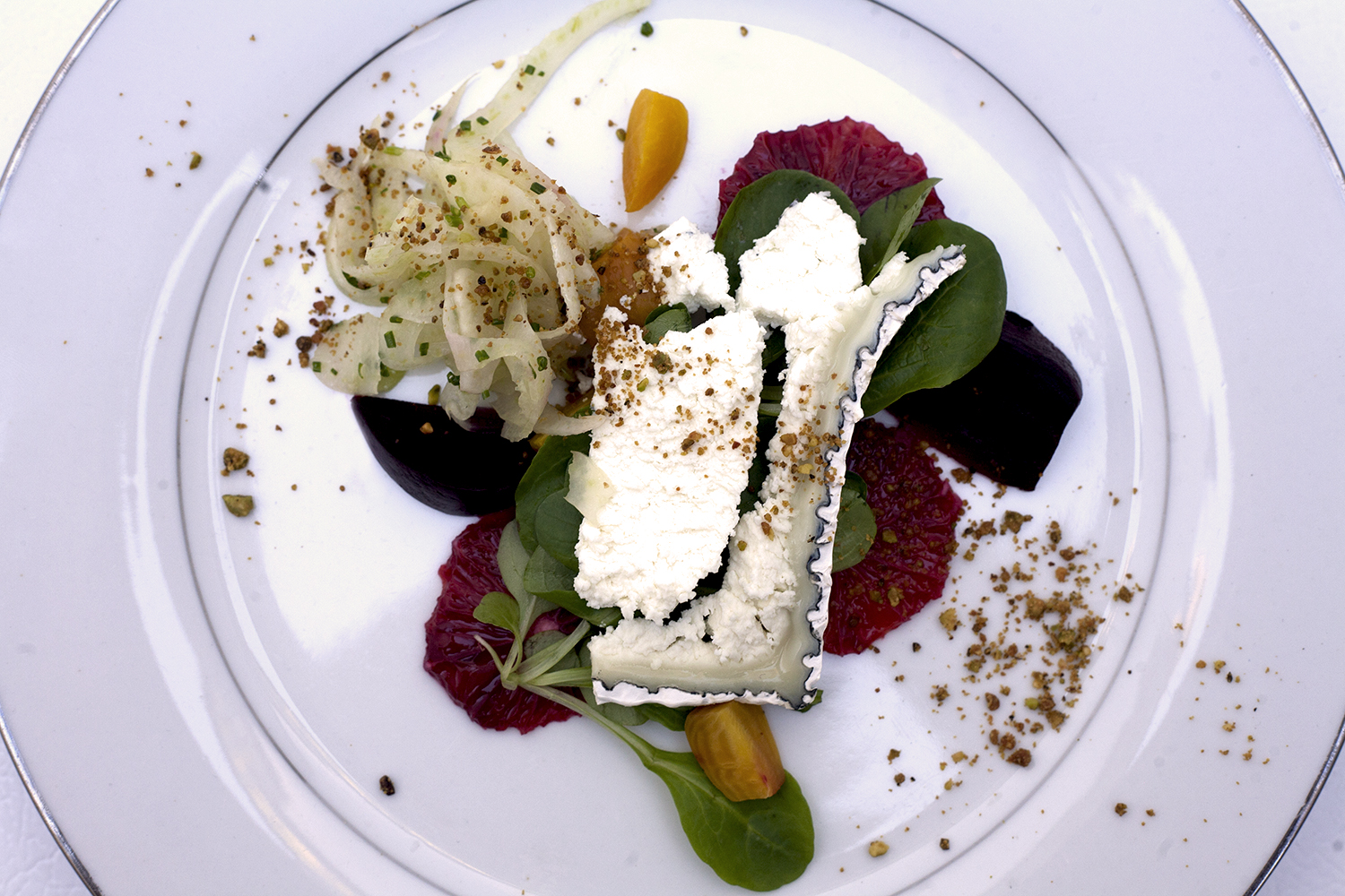 Market beets, Humboldt fog goat cheese, blood orange, shaved fennel, mache and pistachio