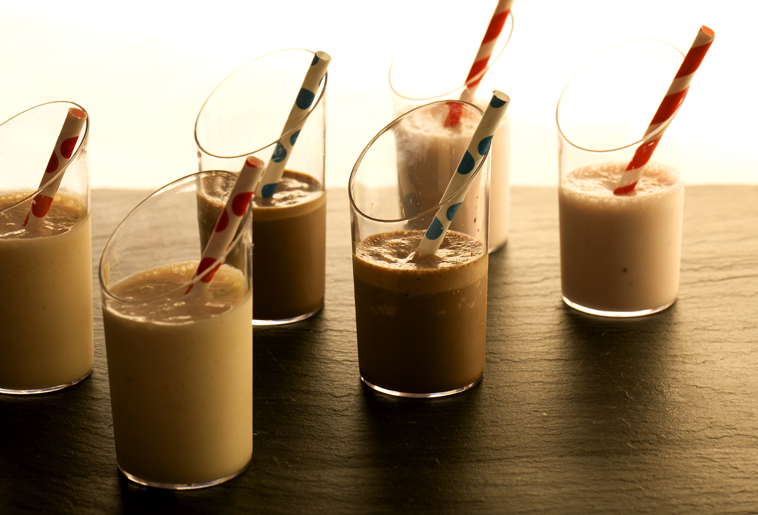 Mini milk shakes: strawberry, chocolate and salted caramel with peanut
