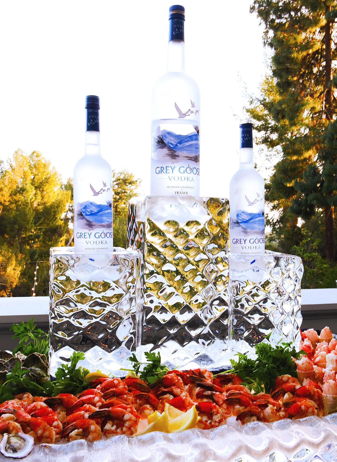 Seafood and Grey Goose vodka display