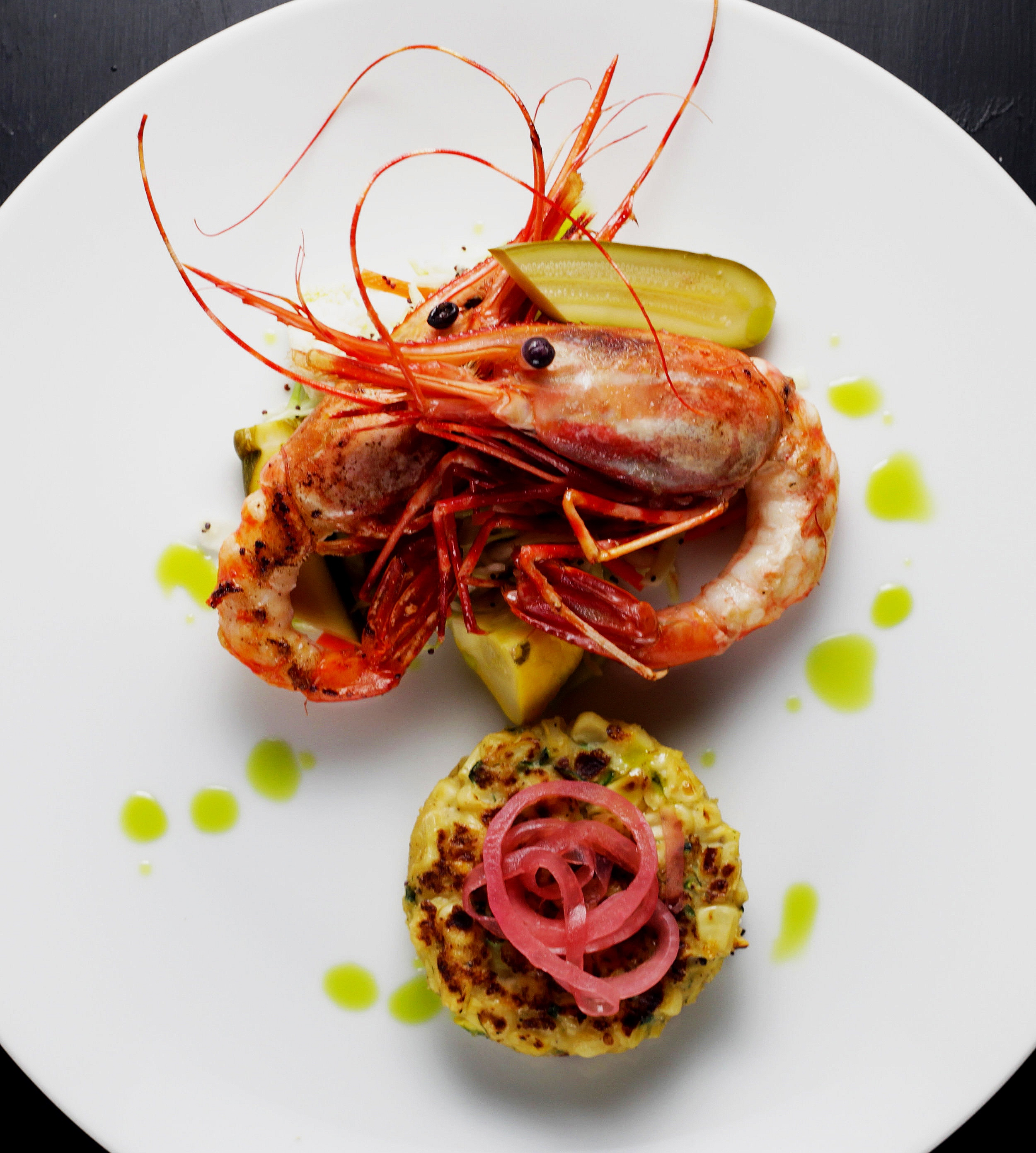 Lobster with roasted corn and pickled red onion