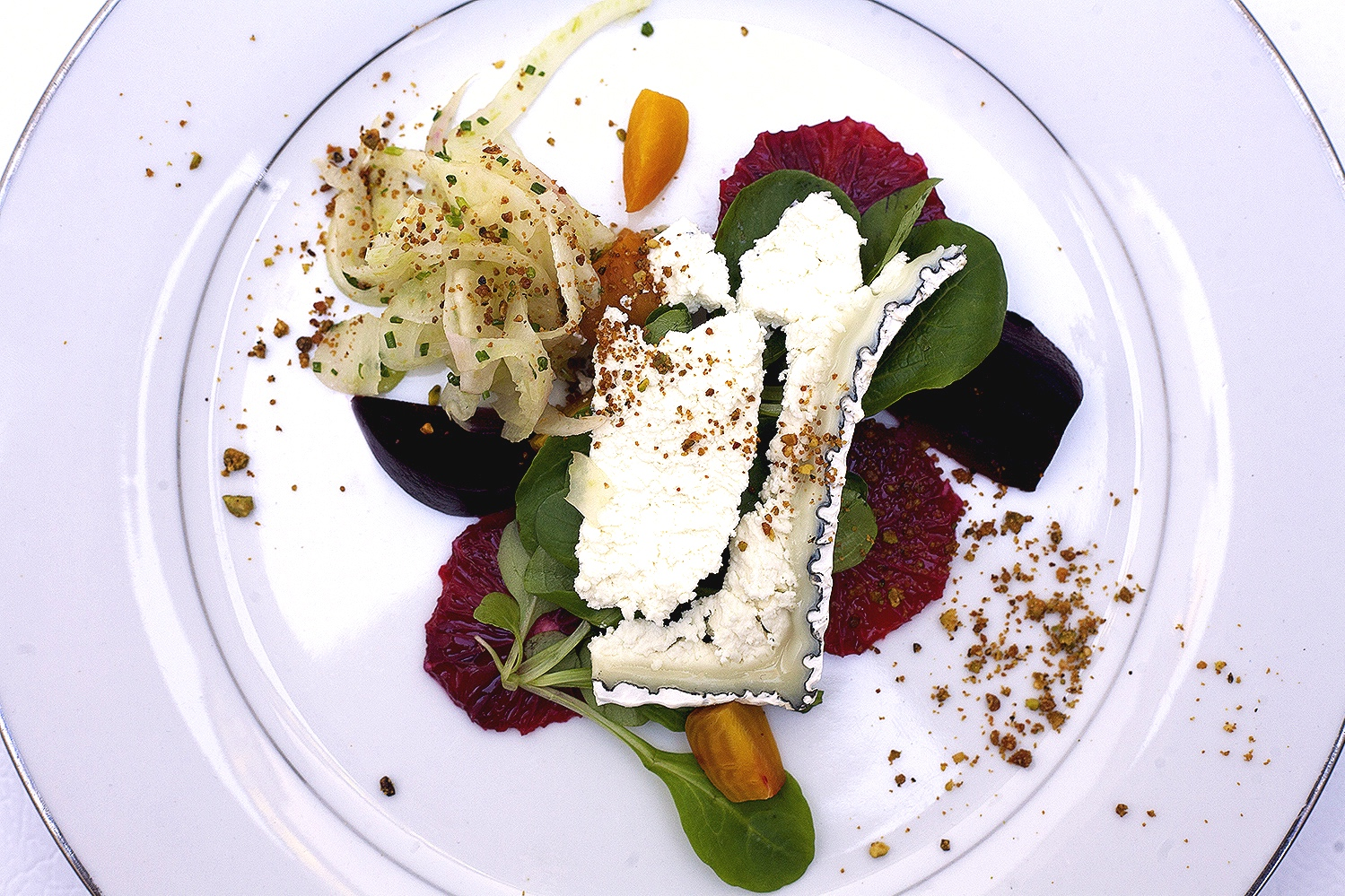 Autumn salad with chèvre, blood orange, fennel and red and gold beets