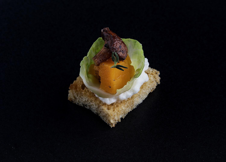 Ricotta, butternut squasg and mushroom crostini
