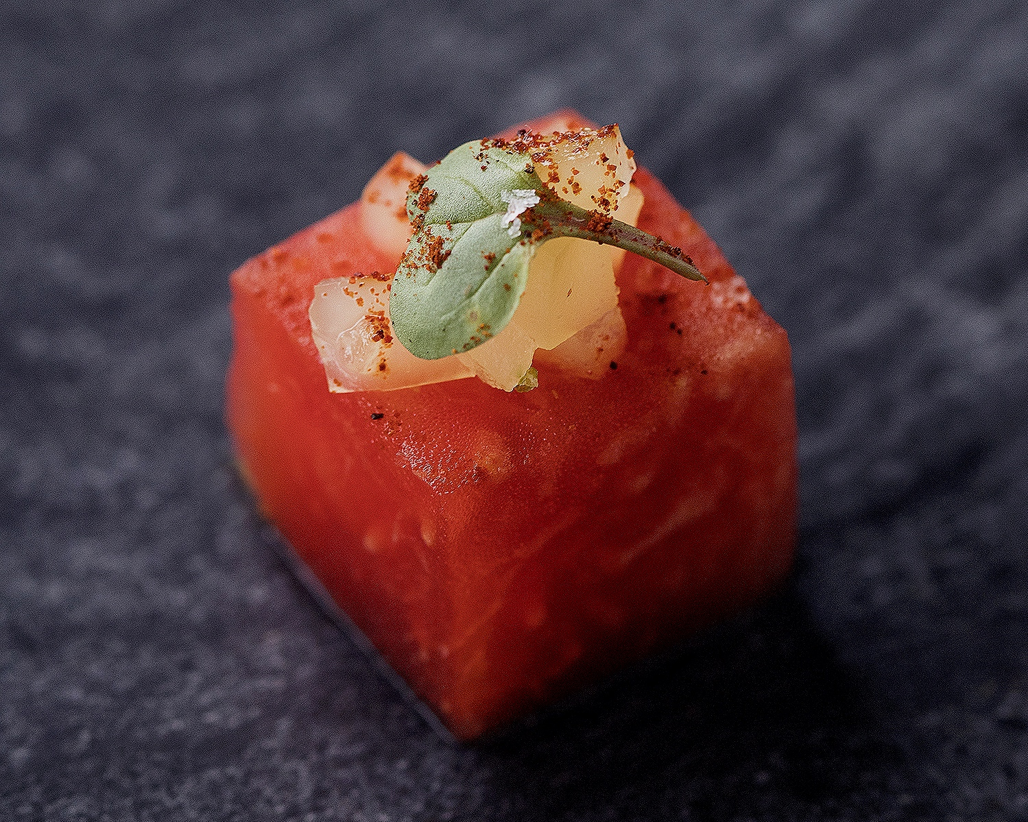 Compressed watermelon with yuzu gelee