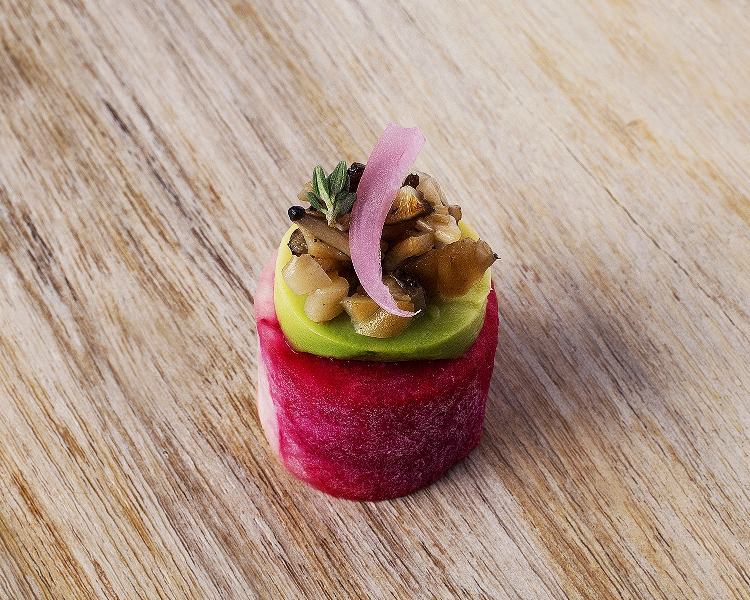 Watermelon radish w avocado, mushroom and pickled onion.jpg