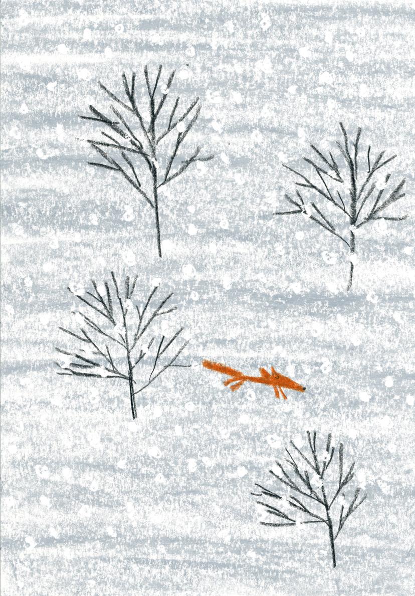 A fox in Hiroko Motai's Hiroko Motai's MILJOONA BILJOONA JOULUPUKKIA (Schildts&Söderströms 2014).