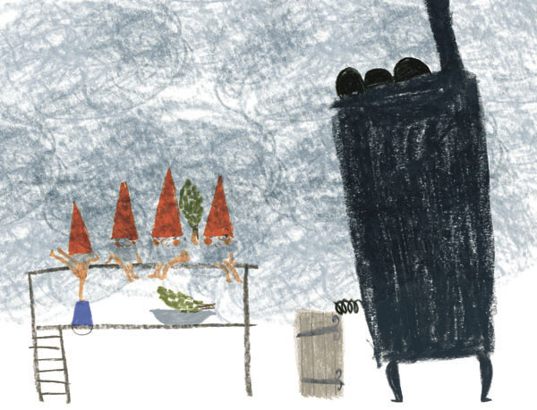 Little Santa Clauses in sauna in Hiroko Motai's MILJOONA BILJOONA JOULUPUKKIA (Schildts&Söderströms 2014).