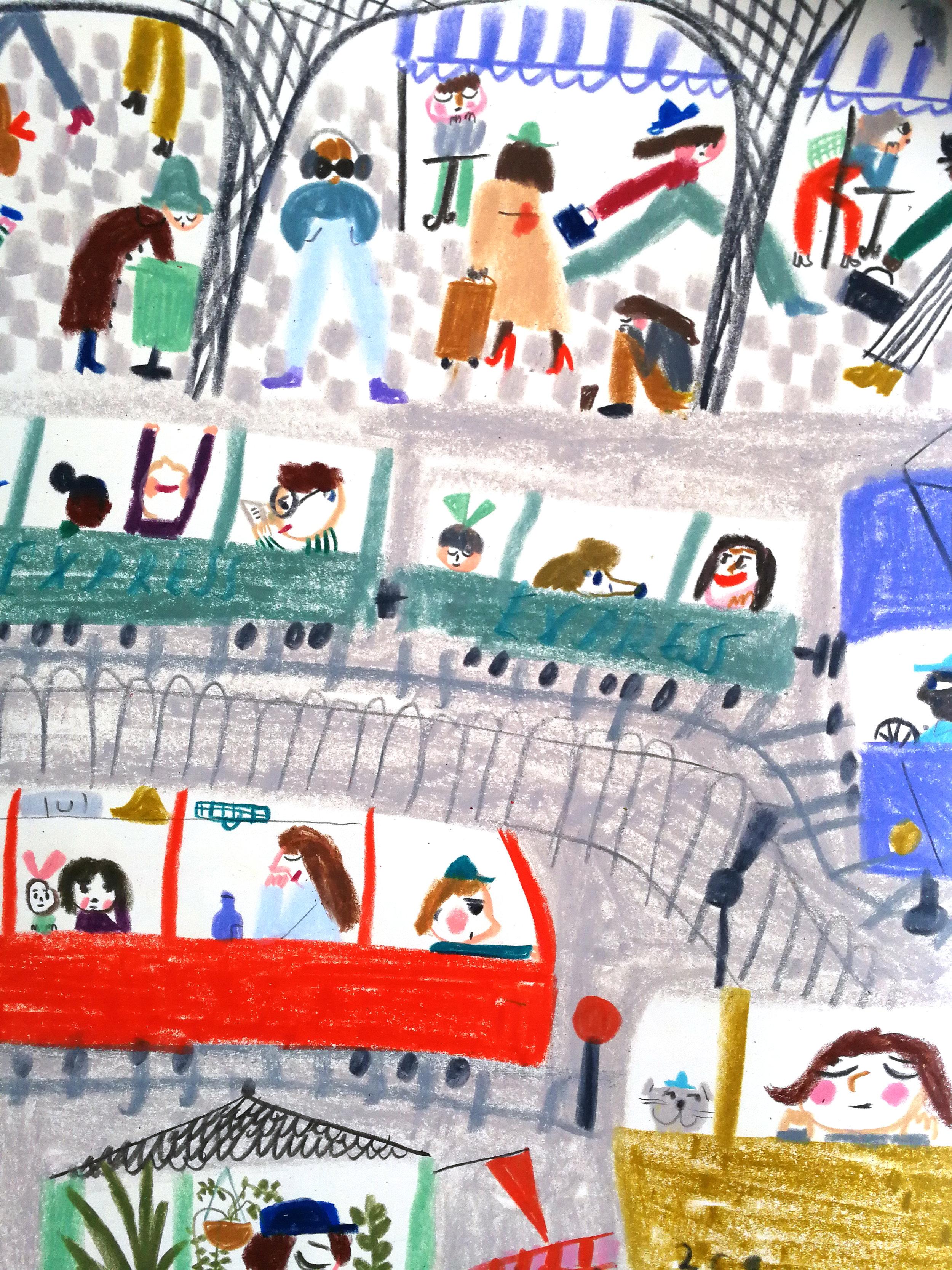 Passengers on trains in Marika Maijala's RUUSUN MATKA (Etana Editions 2018).