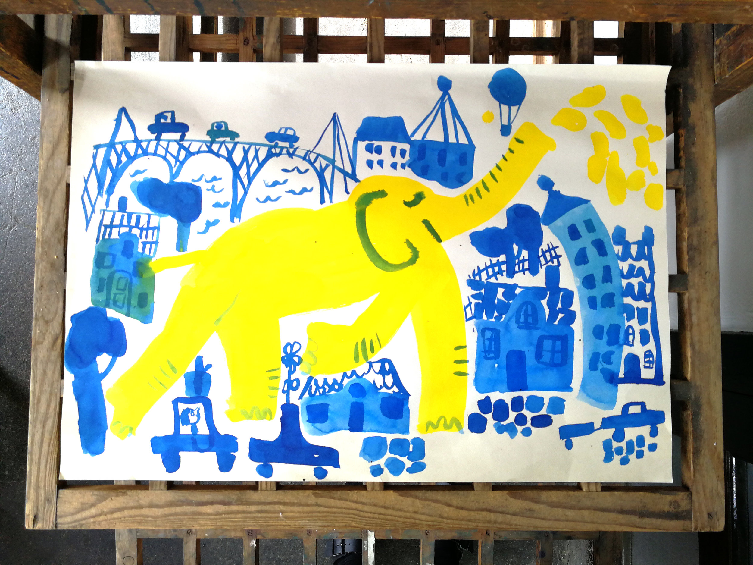 A yellow elephant in a blue city. Unpublished personal work.