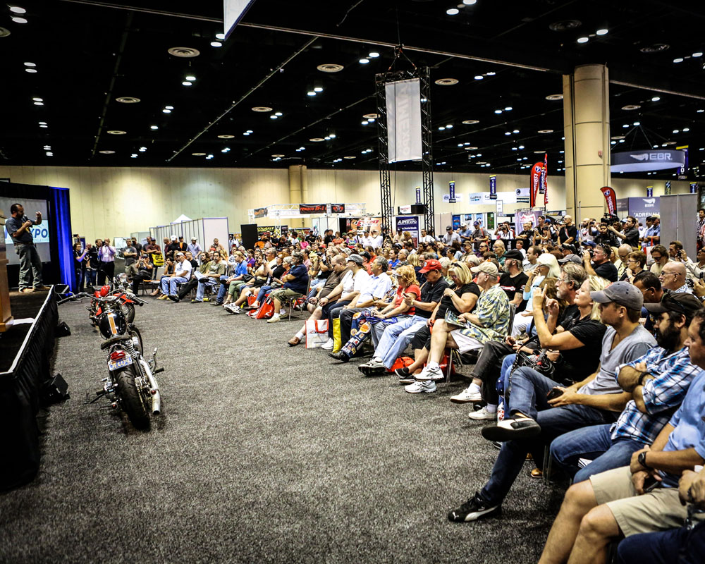 Enthusiasts packed the house to see the latest and greatest from the powersports industry and to also see guest speakers like  American Pickers' Frank Fritz .