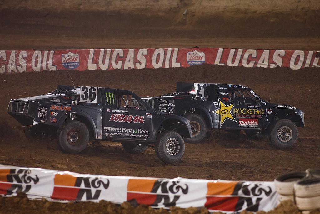 Rodrigo Ampudia (#36) Battles Rob MacCachren (#21) Courtesy Lucas Oil Off Road Racing Series