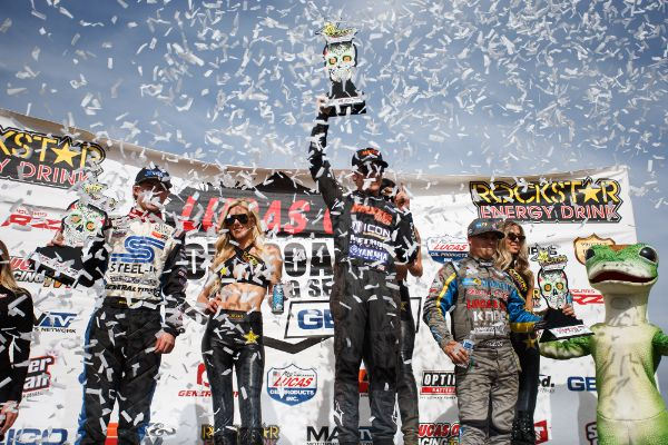 Brock Heger (center) emerged triumphant in Pro Lite on Saturday Courtesy Lucas Oil Off Road Racing Series