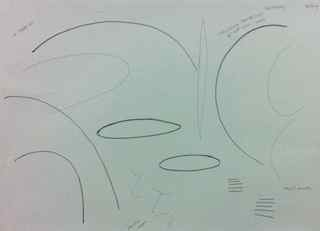 Drawing: arcs and shapes from the coffee shop