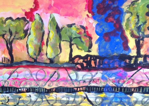 All the town rivers.  acrylic on card.
