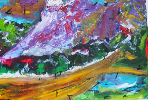 Meanwhile, the mountains.  Acrylic on paper, Lynne Cameron 2015.