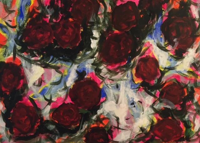 Crimson on crimson  acrylic on paper, 40 x 60 cm Lynne Cameron, 2015