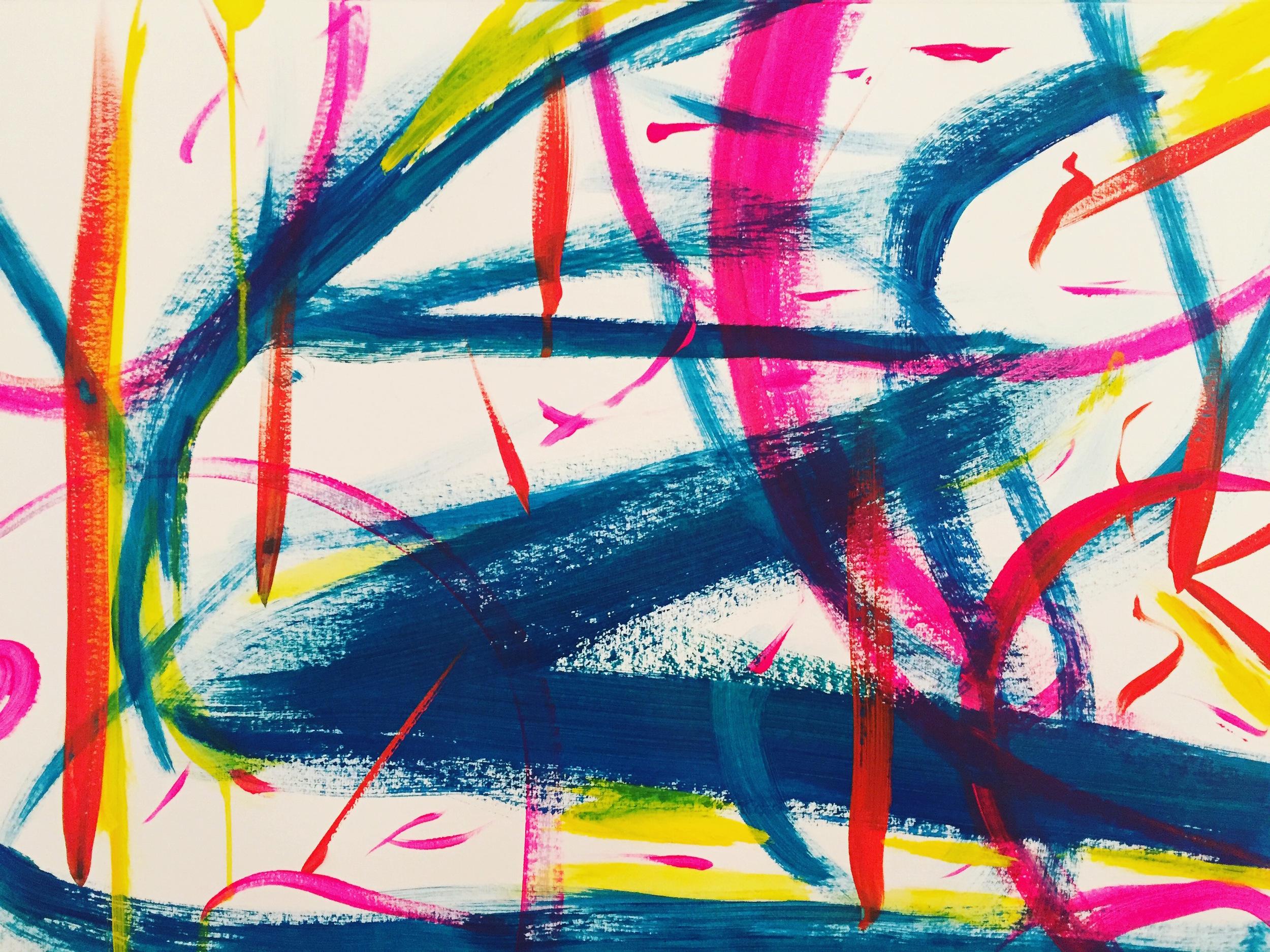My dancing mind  acrylic on paper, Lynne Cameron, 2015.