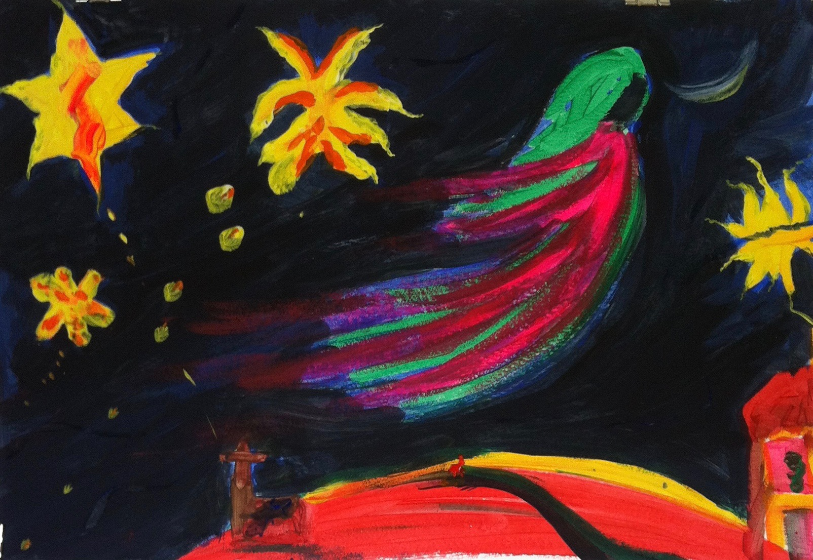 """in 2015, this painting emerged. It chose its own title """"Our flying shapes the sky""""."""