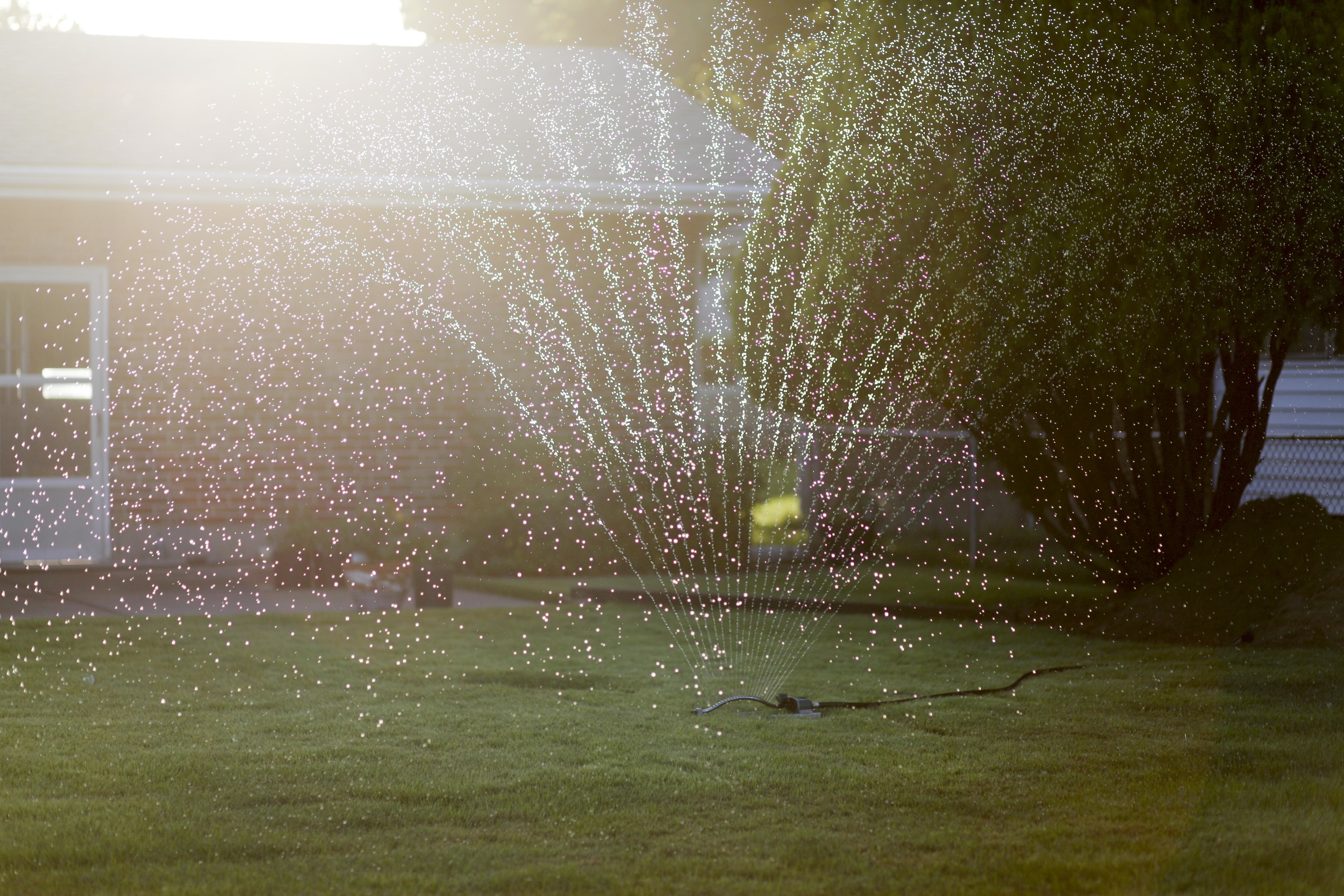 A sprinkler waters a backyard lawn that abuts W. Florissant Ave., where protests have taken place nightly August 20, 2014 in Ferguson, MO.
