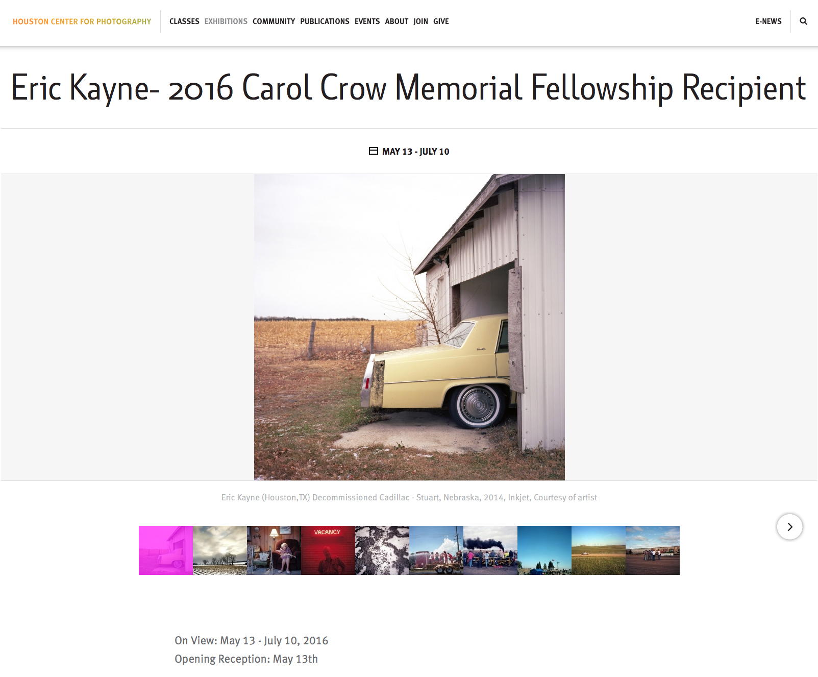Screenshot from Houston Center for Photography website announcing fellowship and exhibition details