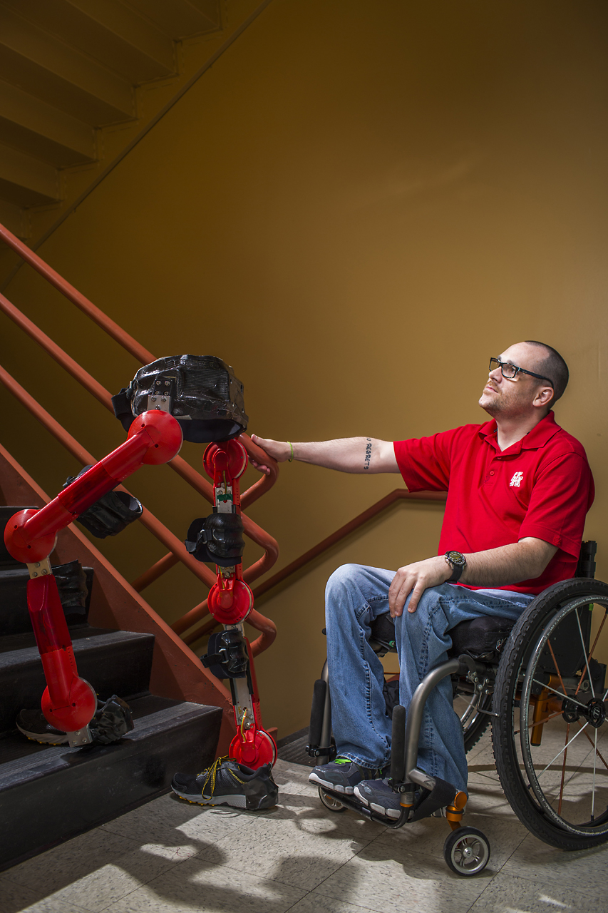 Pilot Matt Standridge will compete in the Cybathlon using an exoskeleton from the University of Houston's Noninvasive Brain-Machine Interface Systems Laboratory designed to help people with paraplegia to walk.