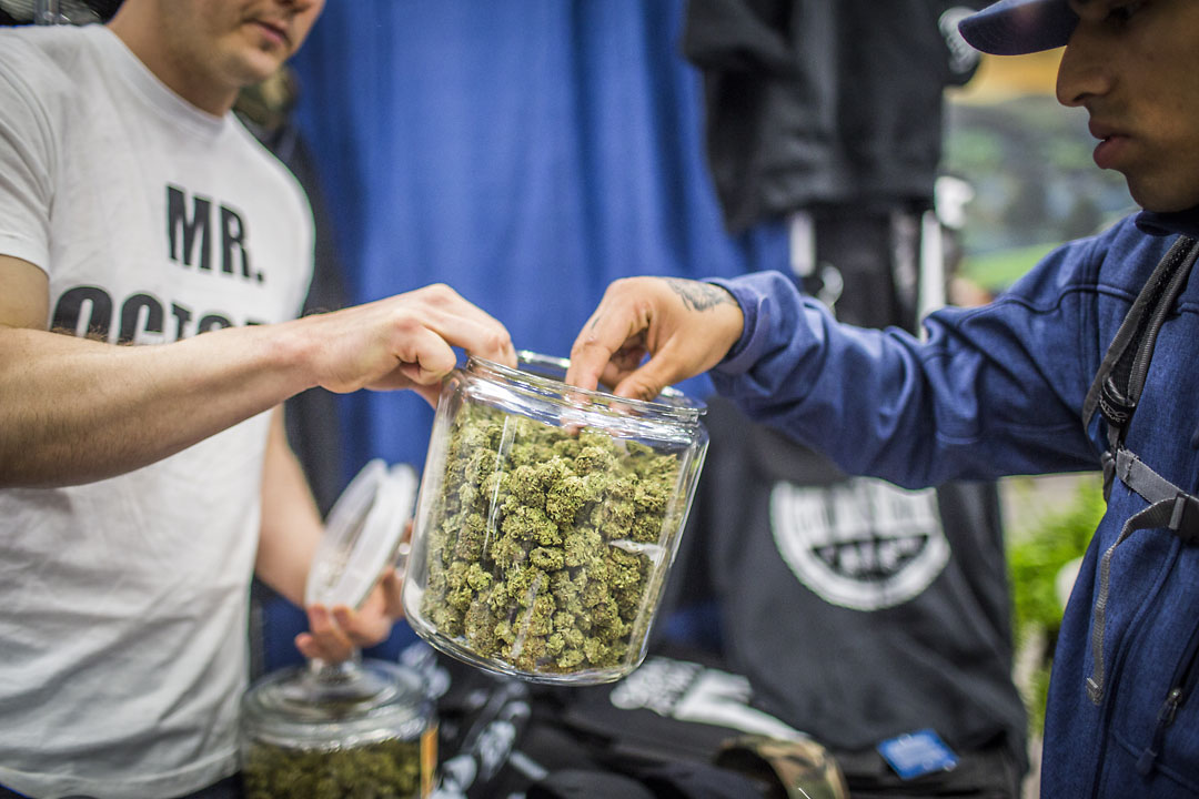Vendor Jacob Tenney, left, manger of Loyal Tree Farms, offers a bud for attendee Carlos Hermosillo to smell at the Emerald Cup.