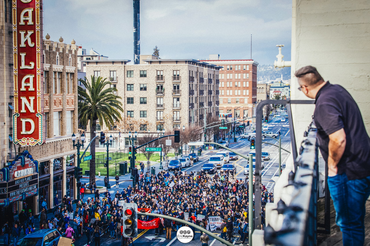An anti-Trump rally marches into downtown Oakland on Telegraph Ave., Friday, Jan. 20, 2017 in Oakland, CA.