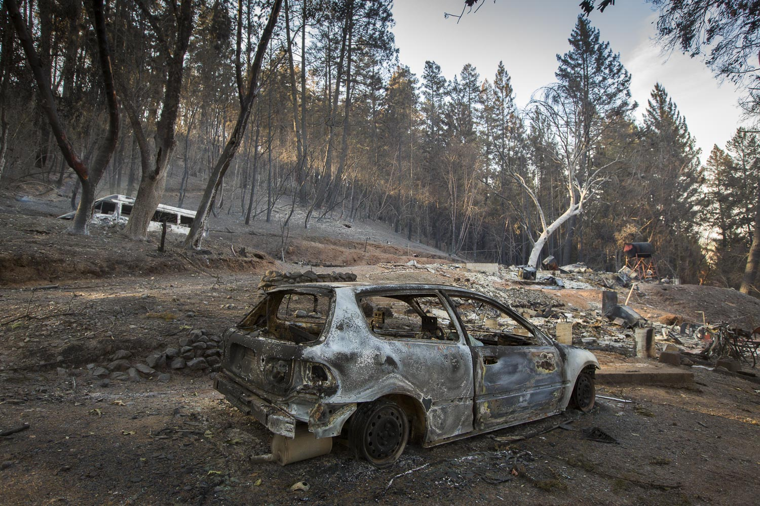 The Monroe family property destroyed by wildfire in a secluded neighborhood off Tomki Road Oct. 15, 2017 in Redwood Valley, CA.