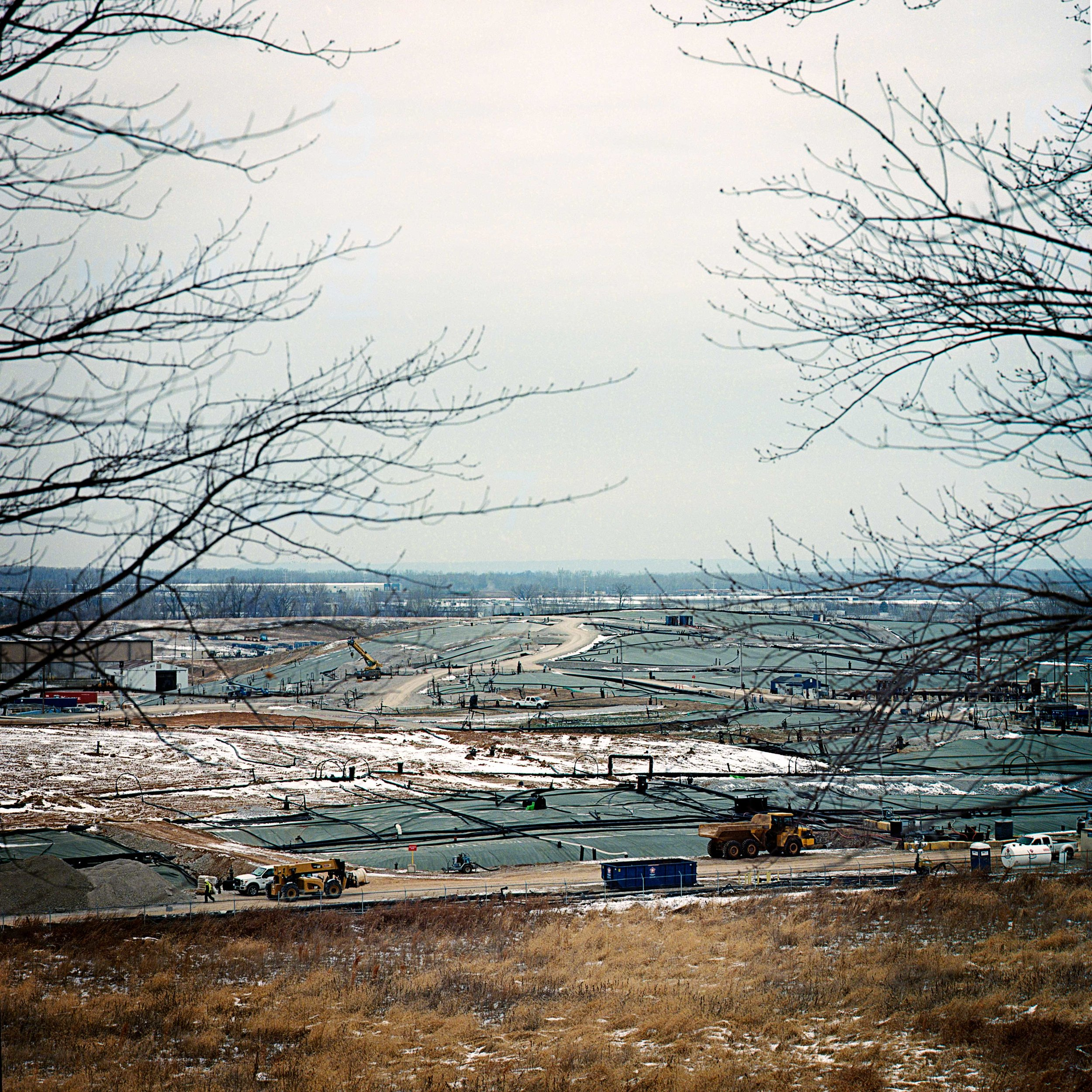 Bridgeton Sanitary Landfill, Dec. 27, 2017 in St. Louis, Missouri. An underground fire was detected underneath the landfill in 2010 and still burns today. There have been concerns as radioactive waste is also buried nearby the landfill.