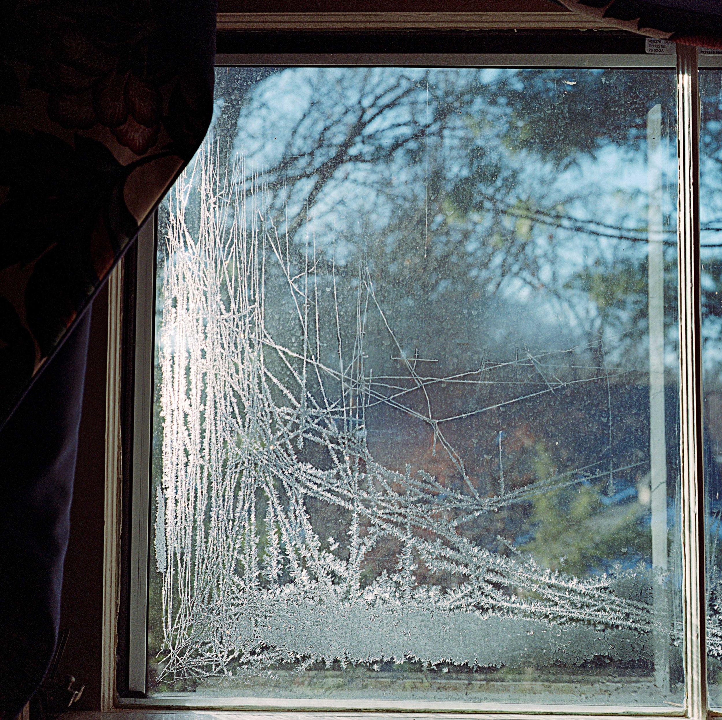 Frosted window in my in-laws' bedroom window, Dec. 2017 in St. Louis, Missouri.