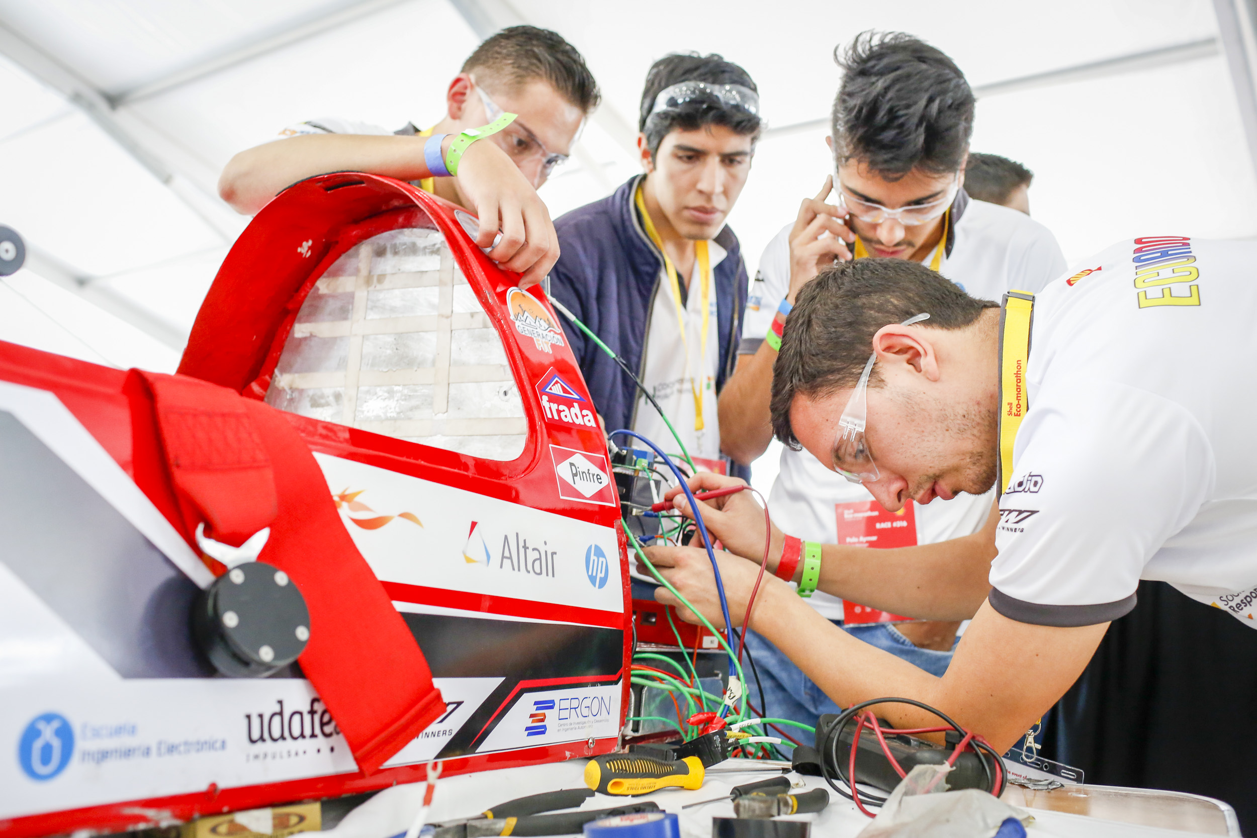Team  #316,  E-Team UDA Elec, of Universidad del Azuay, in Cuenca, Azuay, Ecuador, Prototype, Battery Electric work on their car in the paddock during day one of Shell Make the Future at Sonoma Raceway, Thursday, April 19, 2018 in Sonoma, Calif.