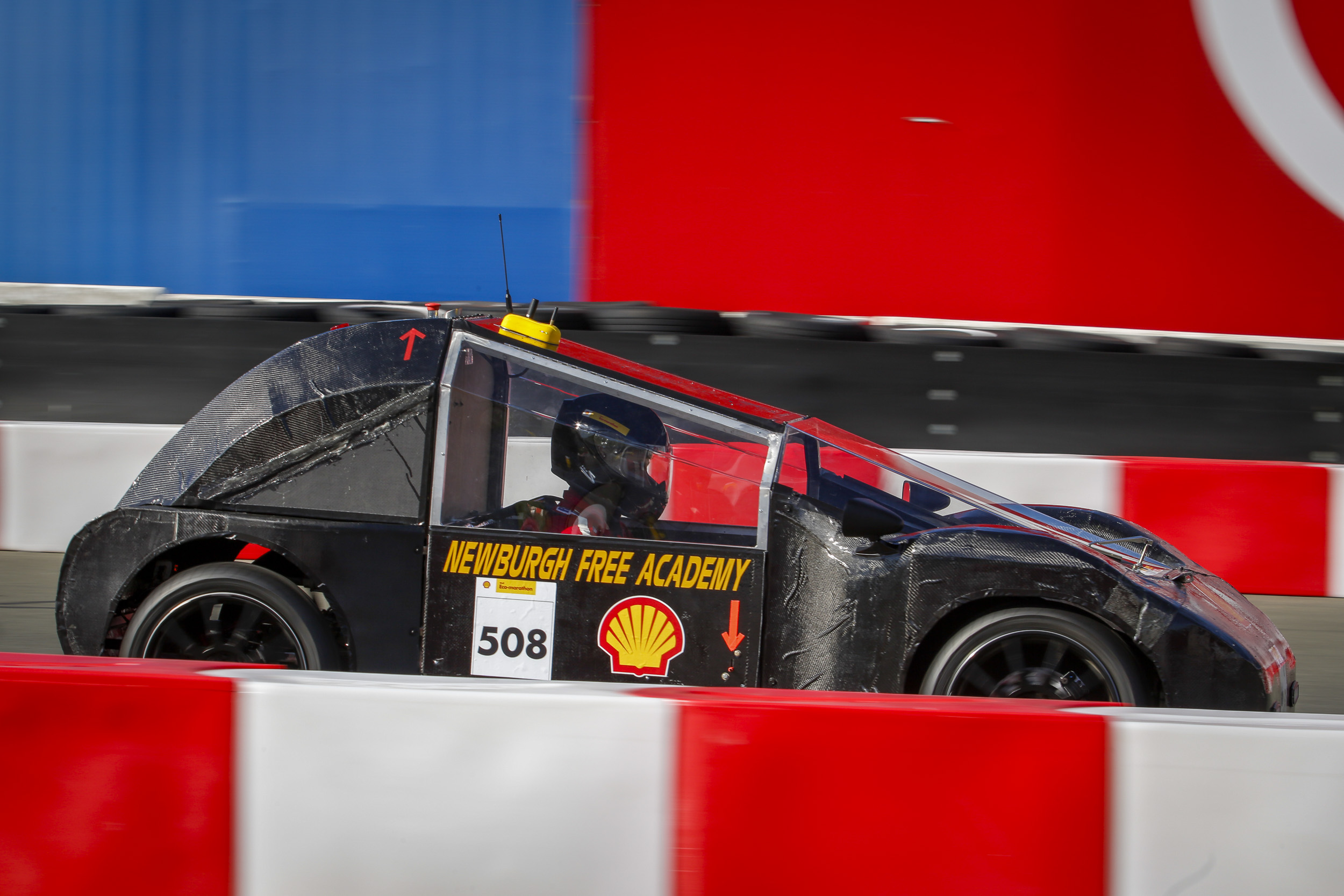 Team Mavericks with their vehicle the The Tank ,  #508,  from Newburgh Free Academy, Newburgh, New York , United States, competing under the UrbanConcept - Diesel category on the track during day three of Shell Make the Future at Sonoma Raceway, Saturday, April 21, 2018 in Sonoma, Calif.