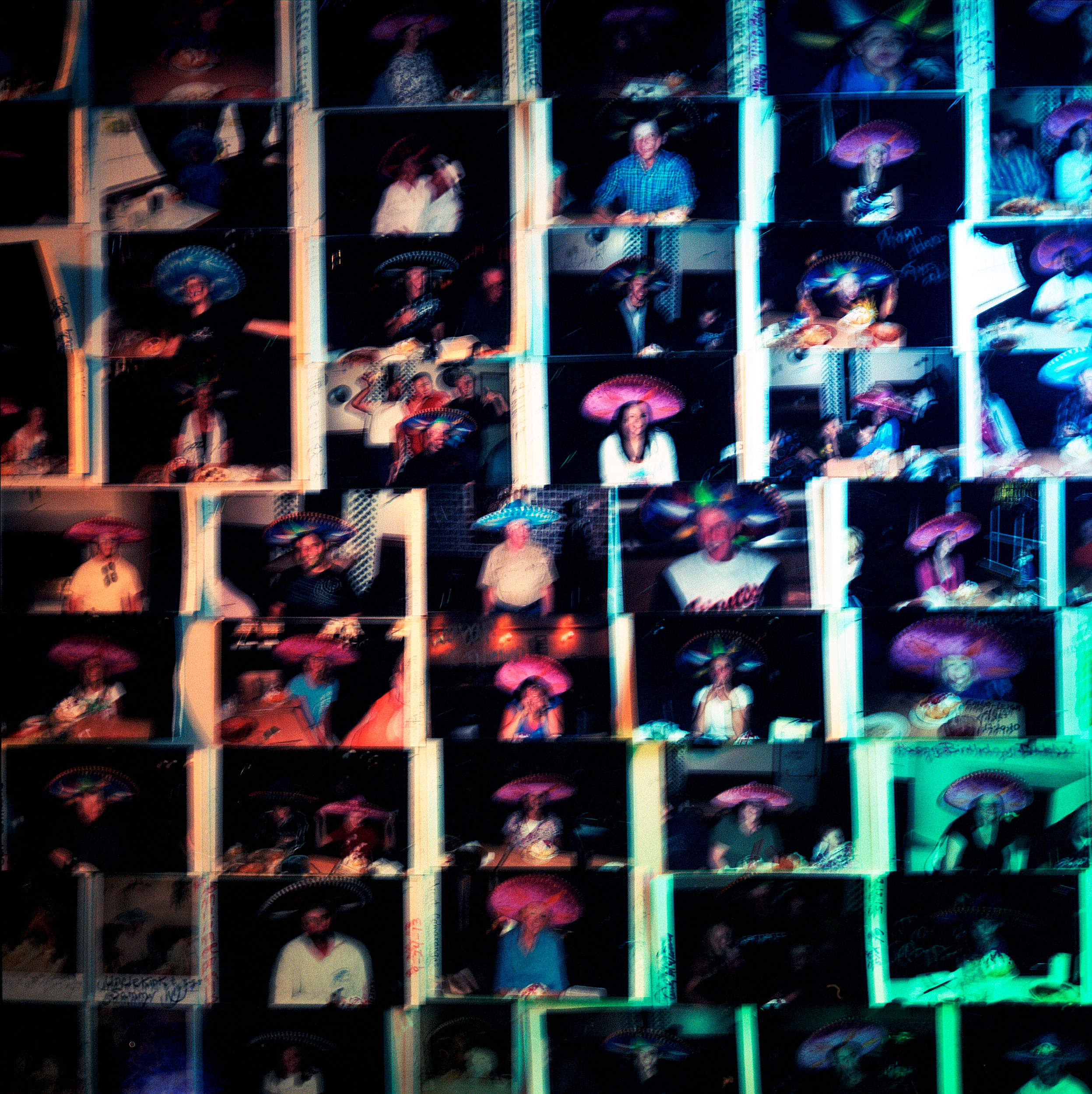 A wall of polaroids at La Fiesta restaurant in Ely, Nevada made on a dinner break on a cross country trip from California to Maryland on US Highway 50.
