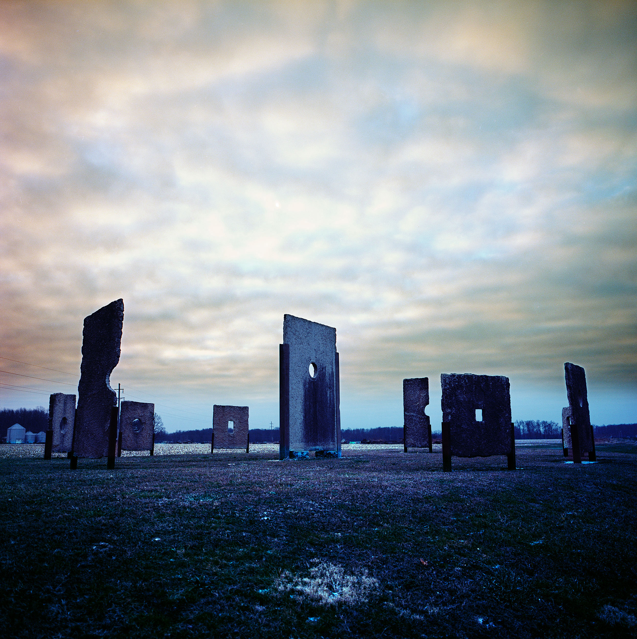 """Paulhenge,"" located in Versailles, Indiana. The sun shines through the holes on solstices and equinoxes ."
