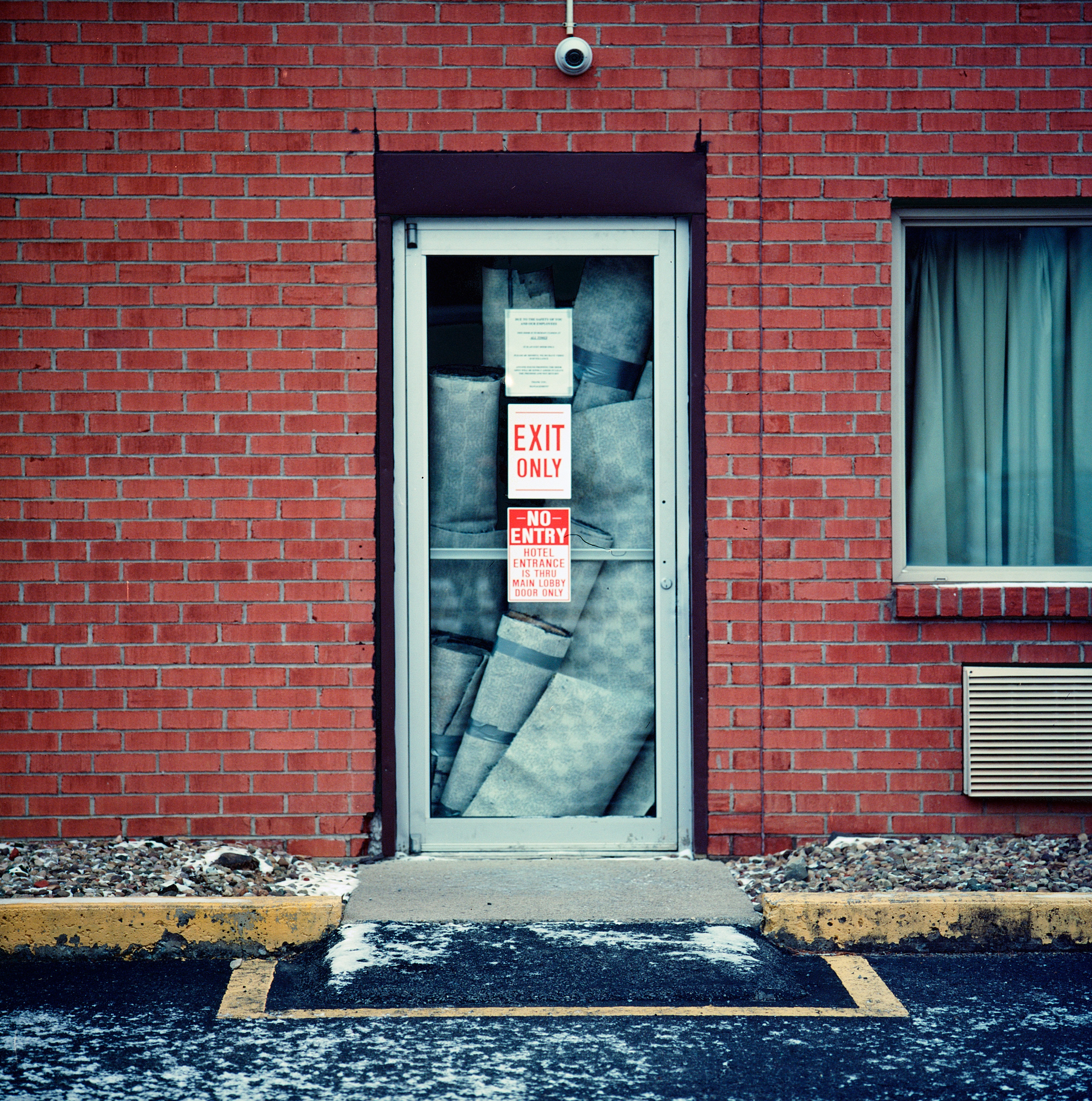 Motel door, Pleasant Valley, West Virginia.