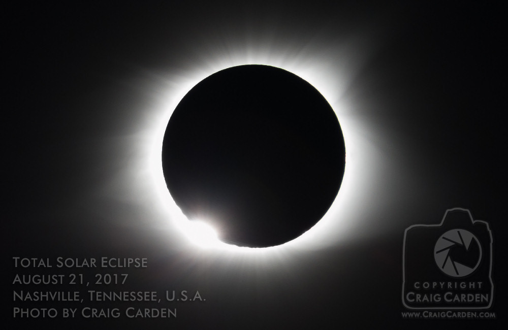 """The """"Diamond Ring Effect"""" that occurs just before the Moon completely covers the Sun."""