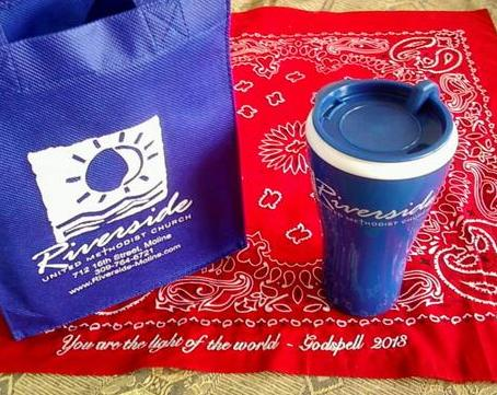 First time visitors get this tumbler and bag, along with some introductory                                                                 information about Riverside!