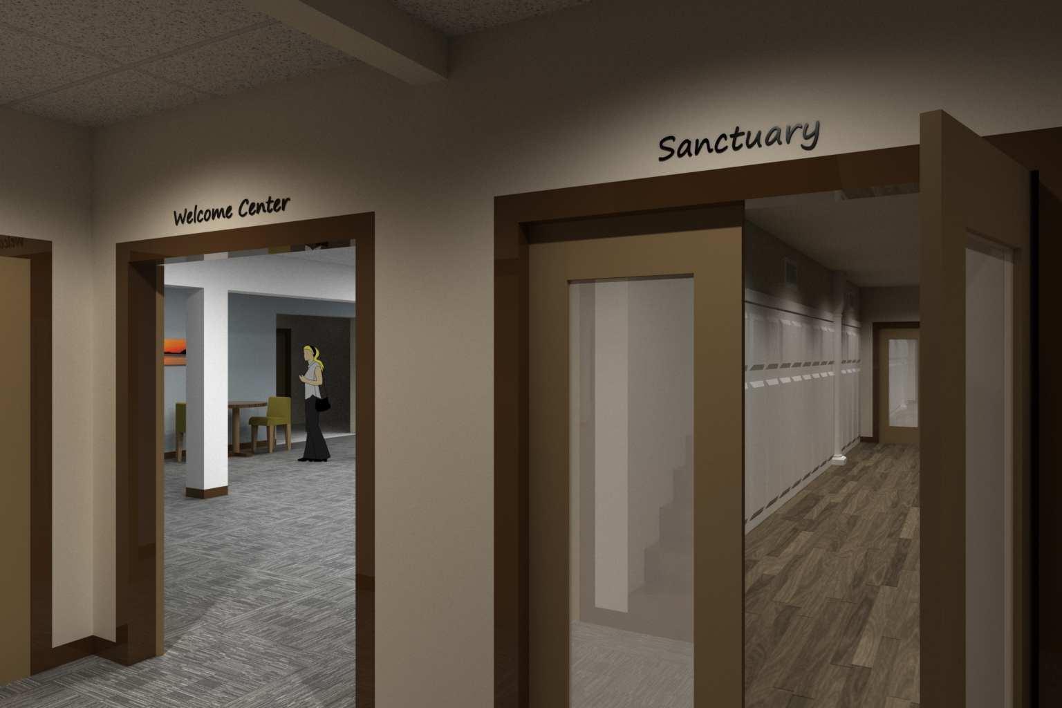 Entry way to the new Welcome Center and Sanctuary at the top of the stairs