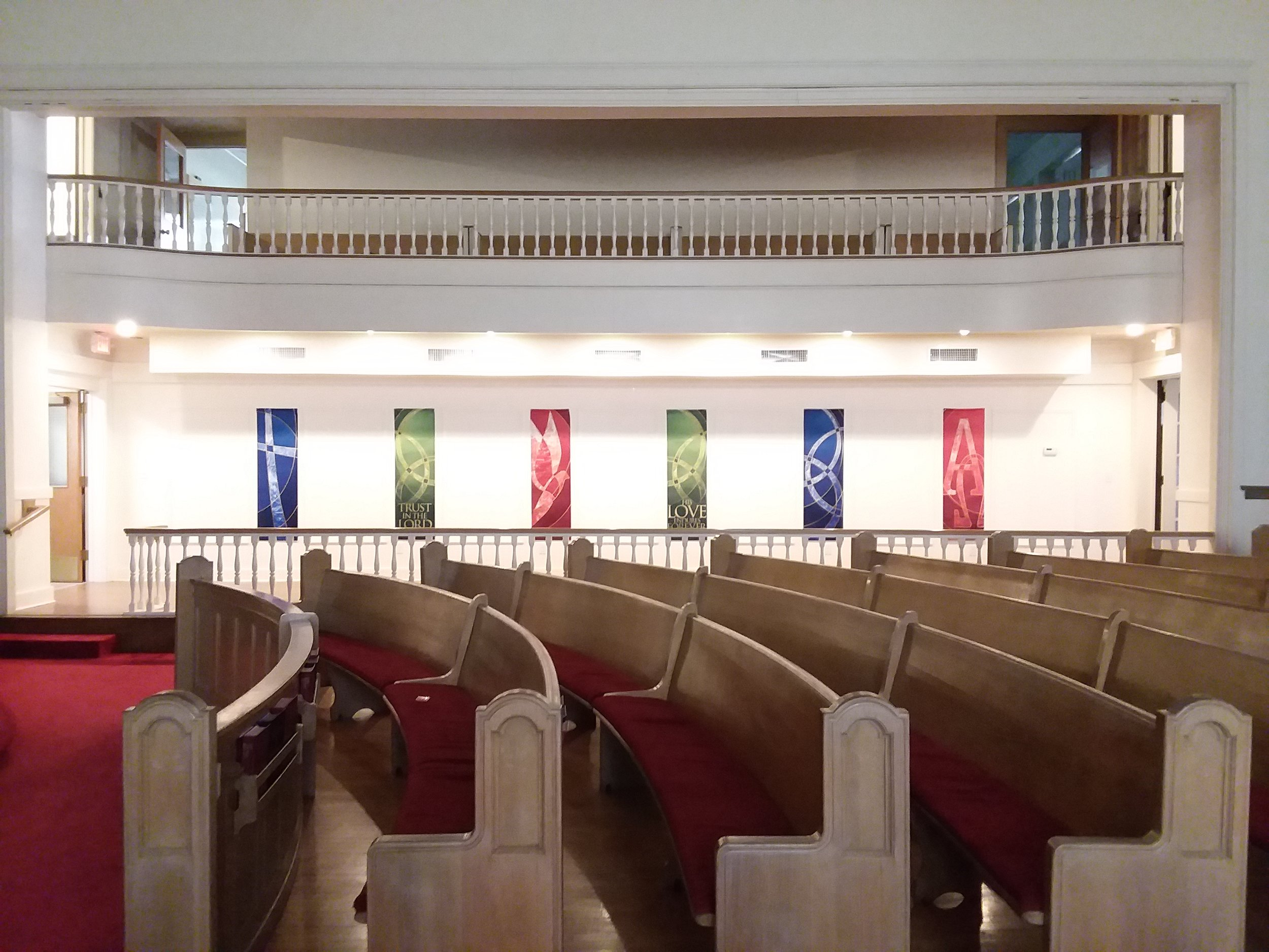 Competed Sanctuary side walkway with flag decorations