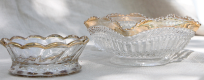Clear glass containers with metallic gold accent-assorted sizes and heights-great for flowers  $4 each