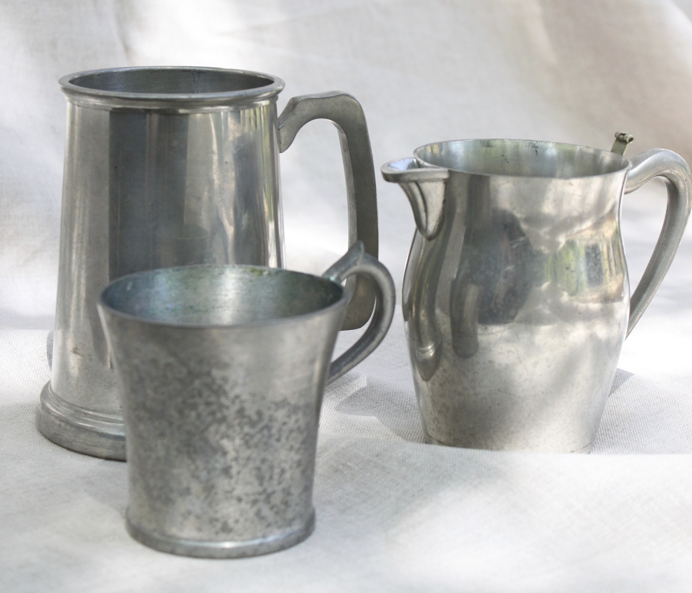 Vintage pewter-assorted sizes and shapes  Perfect for floral arrangements  $10 each