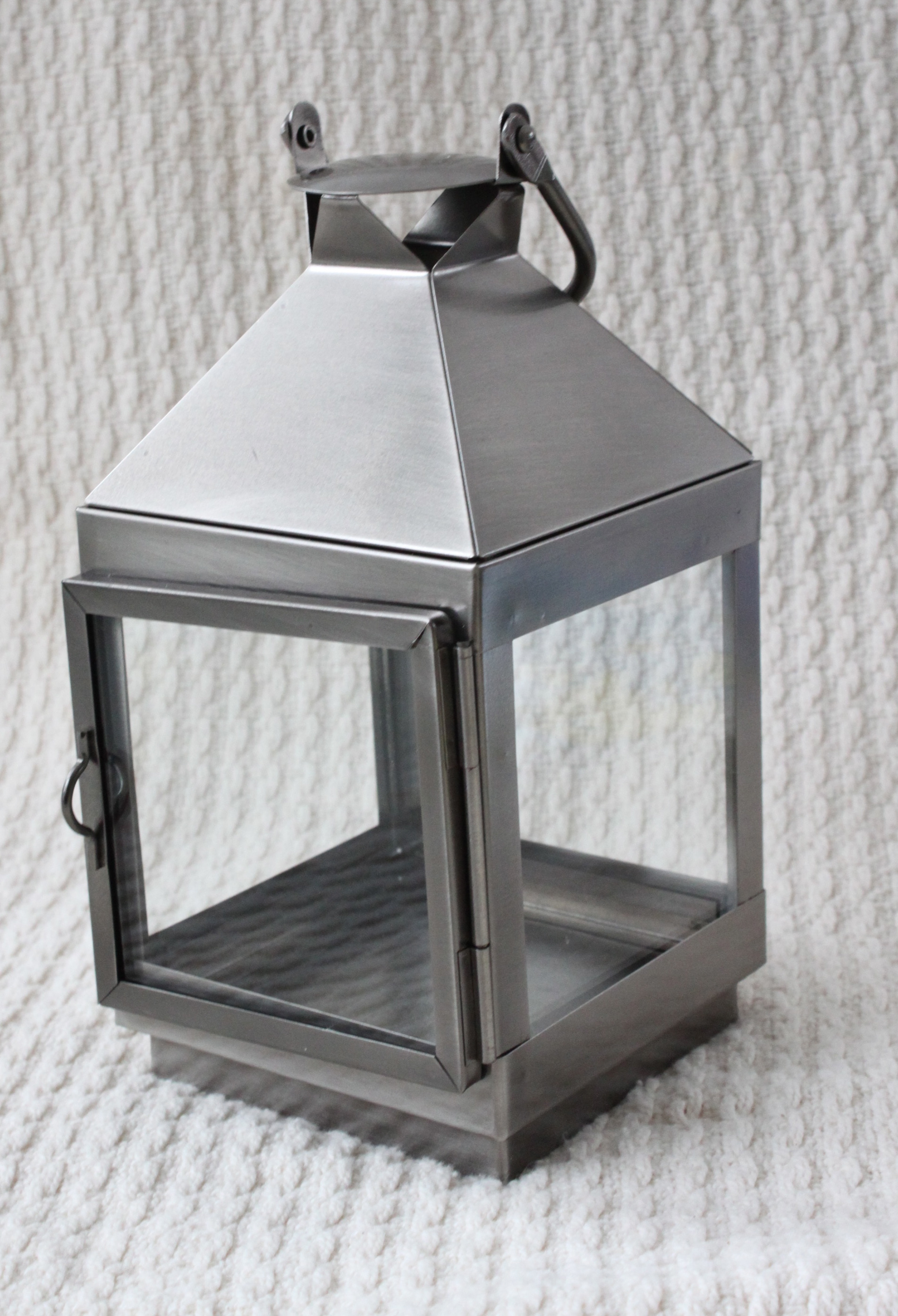Silver square lantern-small holds votive holder  $12 each