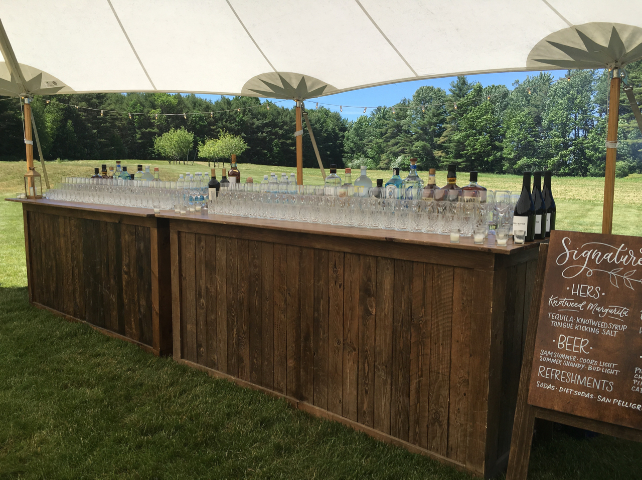Double and single wood barsDouble bar is 16' long, walnut finish, can be configured as a bar front and bar back for double sided service. Single bars are 8' long.$400 double bar$200 single bar -