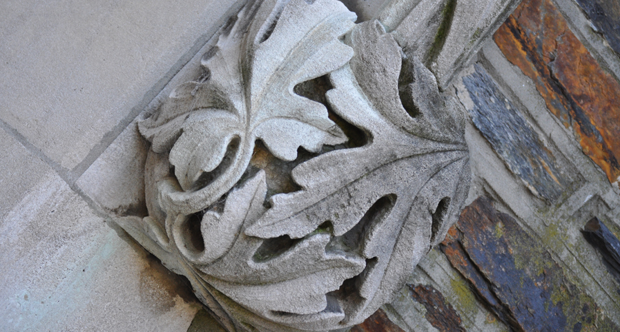 "It was this stone carving on the campus of Duke University that gave La Noue the idea of placing the Blue Devils in a ""Gothic Forest."""