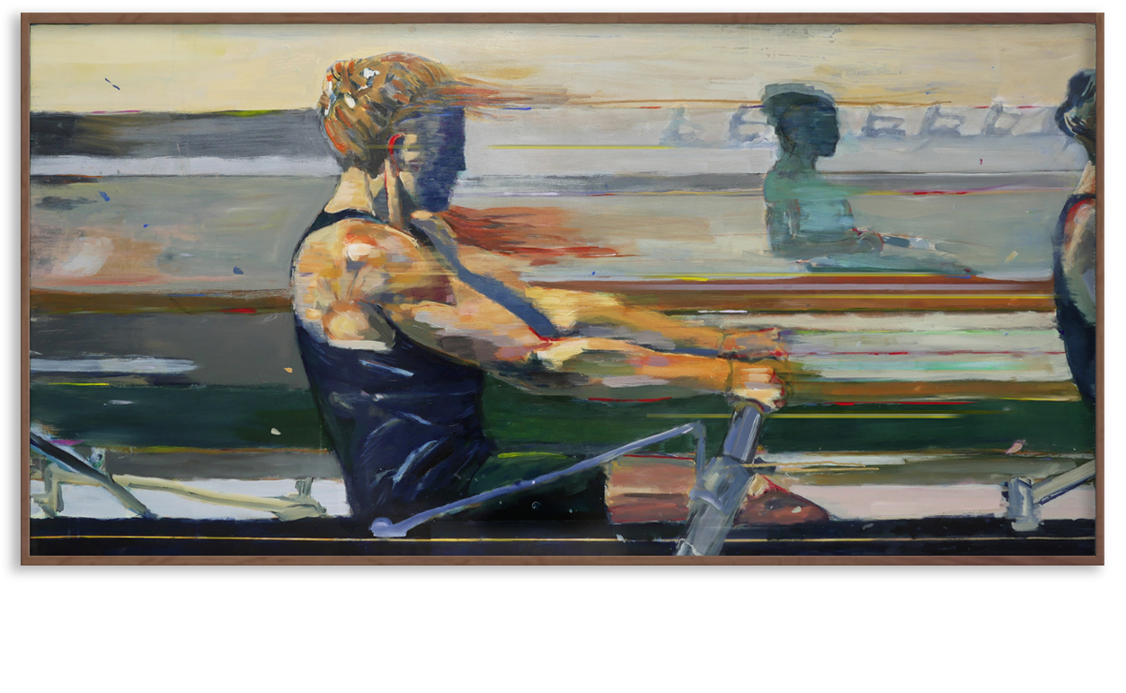 "Revere La Noue, 2106. ""Velocity"" 36 x 72 in. a commissioned painting for the McConnell Family Boathouse at the University of Notre Dame"